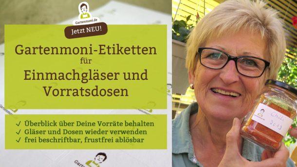 Jetzt erhältlich: Gartenmoni Klebe-Etiketten für Einmachgläser und Vorratsdosen